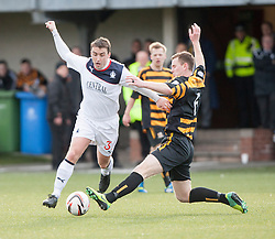 Falkirk's Mark Millar and Alloa Athletic's Stephen Simmons .<br /> Alloa Athletic 3 v 0 Falkirk, Scottish Championship game played today at Alloa Athletic's home ground, Recreation Park.<br /> © Michael Schofield.
