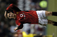 Photo: Richard Lane.<br />Manchester United v Aston Villa. Barclaycard Premiership. 06/12/2003.<br />Ronaldo show his disappointment after a missing an easy goal chance.