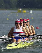 ©  Peter Spurrier Sports Photo<br /> email pictures@rowingpics.com<br /> tel +44 (0)7973 819551<br /> Photo Peter Spurrier<br /> 07/08/2002 Sport - Rowing<br /> World Junior Rowing Championships GBR JW4X<br /> Bow Joanna Cook, Alison Stubbins, Jessica Eddie and Natasha Page.