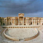 The Roman ruined theatre at the ancient city of Palmyra, Syria