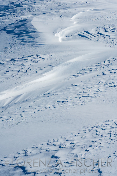 Winddrift on the way up to Piz da las Coluonnas, Julier Pass, Parc Ela, Grisons, Switzerland