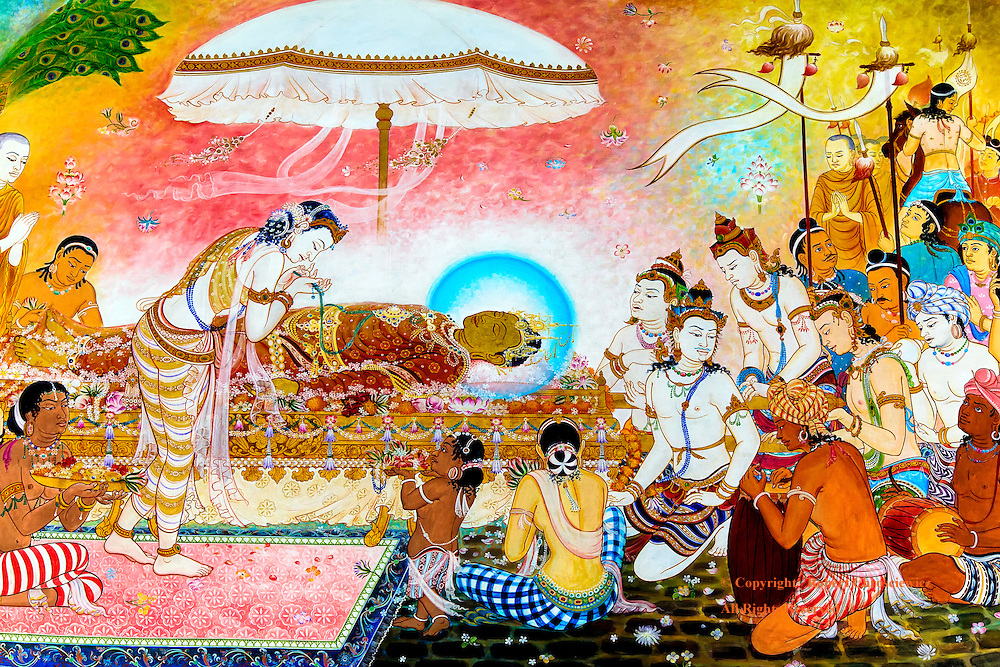 Rebirth From Death:  This painting on the walls of the Wat Thai Kusinara shows the Lord Buddha during Parinirvana (Nirvana-after-death) and the devotes response to his death, Kushinagar India.