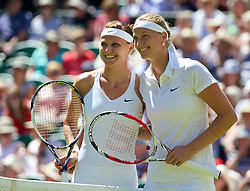 03.07.2014, All England Lawn Tennis Club, London, ENG, WTA Tour, Wimbledon, Tag 10, im Bild Lucie Safarova (CZE) and Petra Kvitova (CZE) before the all-Czech Ladies' Singles Semi-Final match on day ten // during day 10 of the Wimbledon Championships at the All England Lawn Tennis Club in London, Great Britain on 2014/07/03. EXPA Pictures © 2014, PhotoCredit: EXPA/ Propagandaphoto/ David Rawcliffe<br /> <br /> *****ATTENTION - OUT of ENG, GBR*****