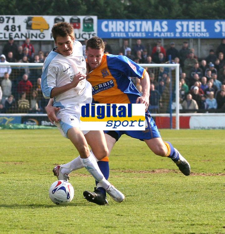 Photo: Mark Stephenson.<br />Shrewsbury Town v Torquay United. Coca Cola League 2. 24/03/2007. Torquay's Ryan Dickson win's the ball from Andy Cooke