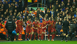 28.01.2014, Anfield, Liverpool, ENG, Premier League, FC Liverpool vs FC Everton, 23. Runde, im Bild Liverpool's captain Steven Gerrard celebrates scoring the first goal against Everton // during the English Premier League 23th round match between Liverpool FC and Everton FC at Anfield in Liverpool, Great Britain on 2014/01/29. EXPA Pictures © 2014, PhotoCredit: EXPA/ Propagandaphoto/ David Rawcliffe<br /> <br /> *****ATTENTION - OUT of ENG, GBR*****