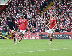 West Ham's Diafra Sakho shoots over the Bristol City net in the FA Cup fourth round match between Bristol City and West Ham United at Ashton Gate on 25 January 2015 in Bristol, England - Photo mandatory by-line: Paul Knight/JMP - Mobile: 07966 386802 - 25/01/2015 - SPORT - Football - Bristol - Ashton Gate - Bristol City v West Ham United - FA Cup fourth round