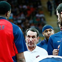 "06 August 2012: USA head coach Michael William ""Mike"" Krzyzewski is seen prior to the 126-97 Team USA victory over Team Argentina, during the men's basketball preliminary, at the Basketball Arena, in London, Great Britain."
