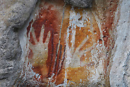 """Ancient rock art paintings, from cave that caved in and exposed them to the light of day, Raja Ampat, Western Papua, Indonesian controlled New Guinea, on the Science et Images """"Expedition Papua, in the footsteps of Wallace"""", by Iris Foundation"""