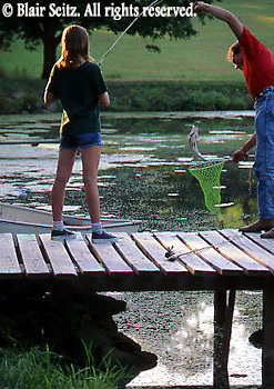 Fishing, Pennsylvania Outdoor recreation, Fishing Father Fishing with Children, Father and Daughter Catch Bass Fish