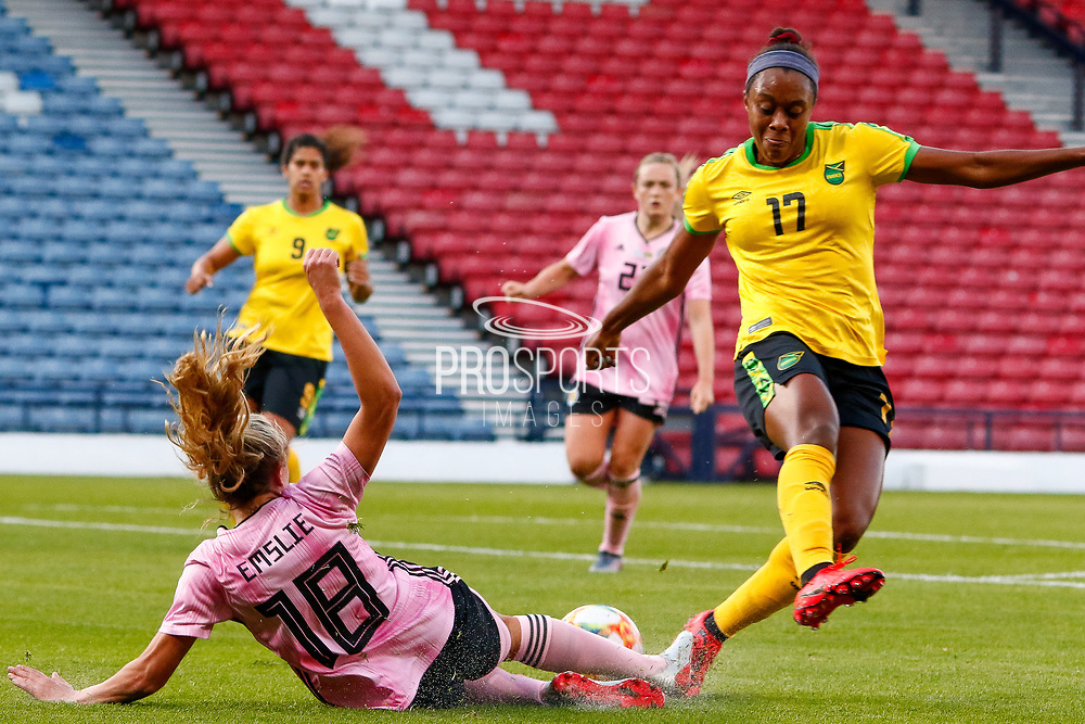A strong tackle from Scotlands Claire EMSLIE (Manchester City WFC (ENG)) during the International Friendly match between Scotland Women and Jamaica Women at Hampden Park, Glasgow, United Kingdom on 28 May 2019.