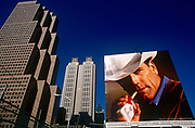 A Phillip Morris ad using the famous Marlboro Man cowboy character on a downtown Atlanta billboard. The Marlboro Man is a figure used in tobacco advertising campaign for Marlboro cigarettes. In the United States, where the campaign originated, it was used from 1954 to 1999. The Marlboro Man was first conceived by Leo Burnett in 1954. The image involves a rugged cowboy or cowboys, in nature with only a cigarette. The advertisements were originally conceived as a way to popularize filtered cigarettes, which at the time were considered feminine. The Marlboro advertising campaign, created by Leo Burnett Worldwide, is said to be one of the most brilliant advertisement campaigns of all time though two of the Marlboro cowboy actors died of lung cancer.