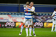 GOAL 3-1 penalty, Queens Park Rangers (QPR) attacker Lyndon Dykes (9) during the EFL Sky Bet Championship match between Queens Park Rangers and Rotherham United at the Kiyan Prince Foundation Stadium, London, England on 24 November 2020.