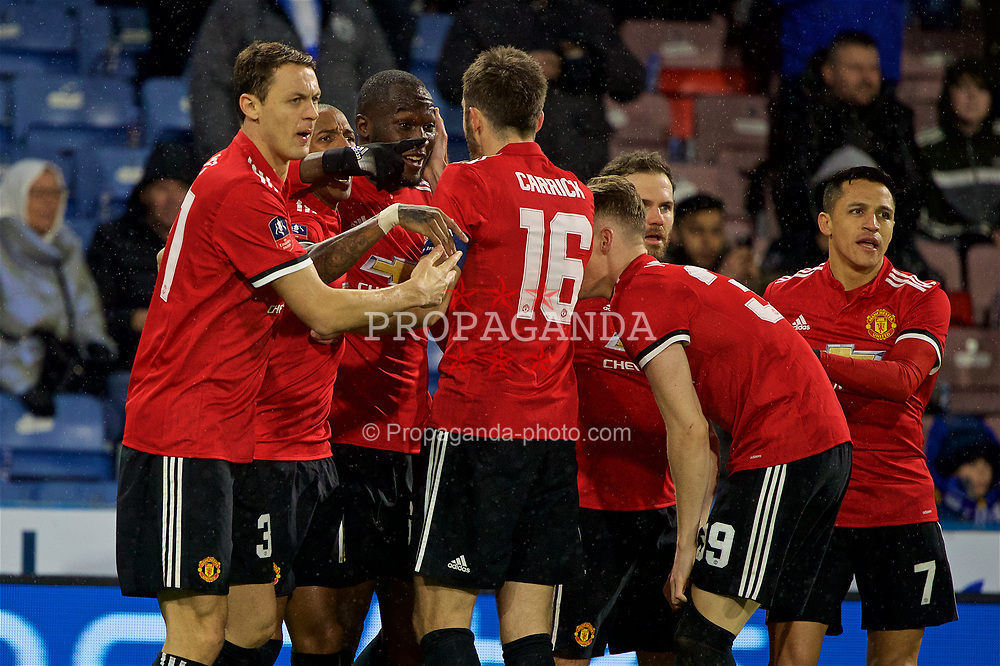 HUDDERSFIELD, ENGLAND - Saturday, February 17, 2018: Manchester United's Romelu Lukaku celebrates scoring the first goal during the FA Cup 5th Round match between Huddersfield Town FC and Manchester United FC at the John Smith's Stadium. (Pic by David Rawcliffe/Propaganda)