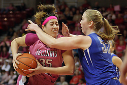10 February 2013:  Brianna Puni defended by Alyssa Kamphaus during an NCAA women's basketball game where the Creighton Bluejays lost to the Illinois Sate Redbirds 66-60 at Redbird Arena in Normal IL
