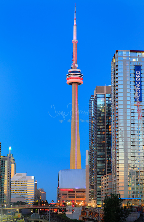 The CN Tower, located in Downtown Toronto, Ontario, Canada, is a communications and observation tower standing 553.3 metres (1,815 ft) tall.