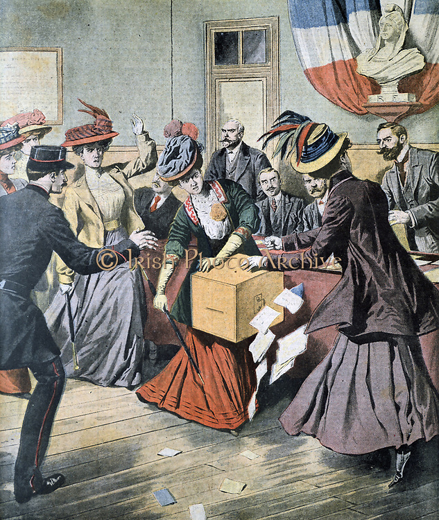 Belgian Suffragettes upsetting ballot boxes. From 'Le Petit Journal', Paris, 17 May 1908