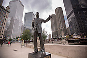 Irv Kupcinet Memorial statue along Riverwalk in Chicago, IL.