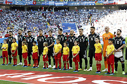 (L-R) Sergio Aguero of Argentina, Nicolas Otamendi of Argentina, Eduardo Salvio of Argentina, Maximiliano Meza of Argentina, Nicolas Tagliafico of Argentina, Angel Di Maria of Argentina, Javier Mascherano of Argentina, Lucas Biglia of Argentina, Marcos Rojo of Argentina, goalkeeper Willy Caballero of Argentina, Lionel Messi of Argentina during the 2018 FIFA World Cup Russia group D match between Argentina and Iceland at the Spartak Stadium on June 16, 2018 in Moscow, Russia.