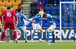 St Johnstone's Danny Swanson and St Johnstone's Murray Davidson. St Johnstone 1 v 2 Aberdeen. SPFL Ladbrokes Premiership game played 15/4/2017 at St Johnstone's home ground, McDiarmid Park.