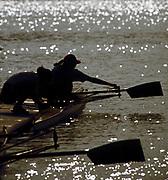 Barcelona,  SPAIN, 1992 Olympic Regatta. Lake Banyoles, Nr Barcelona SPAIN, Women's pair Boating, Silhouette,  [Photo, Peter Spurrier/Intersport-images]