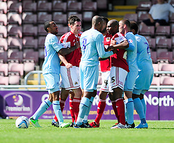 The two teams argue after a foul - Photo mandatory by-line: Dougie Allward/JMP - Tel: Mobile: 07966 386802 11/08/2013 - SPORT - FOOTBALL - Sixfields Stadium - Sixfields Stadium -  Coventry V Bristol City - Sky Bet League One