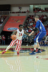 01 February 2014: Daishon Knight & Seth VanDeest  during an NCAA Missouri Valley Conference (MVC) mens basketball game between the Drake Bulldogs and the Illinois State Redbirds  in Redbird Arena, Normal IL.