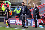 Rochdale manager Brian Barry-Murphy stood on the sideline during the EFL Sky Bet League 1 match between Charlton Athletic and Rochdale at The Valley, London, England on 4 May 2019.