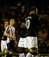 Photo: Jed Wee/Sportsbeat Images.<br /> Sunderland v Manchester United. The FA Barclays Premiership. 26/12/2007.<br /> <br /> Manchester United's Louis Saha (L) is congratulated by Wayne Rooney after scoring from the penalty spot.