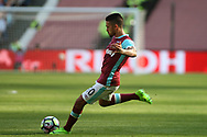 Manuel Lanzini of West Ham United takes a free kick. Premier league match, West Ham Utd v Swansea city at the London Stadium, Queen Elizabeth Olympic Park in London on Saturday 8th April 2017.<br /> pic by Steffan Bowen, Andrew Orchard sports photography.