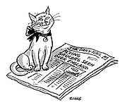 "(A cat licks its lips on reading the newspaper headline ""Flying saucers seen over England"")"