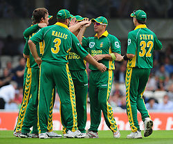 South Africa's Herschelle Gibbs celebrates with his team mates after catching Matt Prior off the bowling of Albie Morkel during the Third One Day International at The Brit Oval, London.