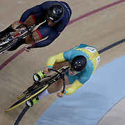 Track Cycling - Olympics: Day 8  Callum Skinner #103 of Great Britain and Matthew Glaetzer #72 of Australia in action in the Men's Sprint Semifinals during the track cycling competition at the Rio Olympic Velodrome August 12, 2016 in Rio de Janeiro, Brazil. (Photo by Tim Clayton/Corbis via Getty Images)