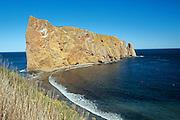 Rocher percé  (Percé Rock) on the Gaspe Peninsula  and the Atlantic Ocean<br /> Percé <br /> Quebec<br /> Canada