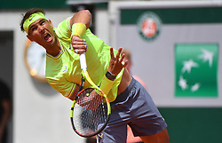 .Spain's Rafael Nadal playing in the first round of the 2019 BNP Paribas Tennis French Open, in the Roland-Garros Stadium, Paris, France, on May 27th, 2019.Photo by Christian Liewig/ABACAPRESS.COM