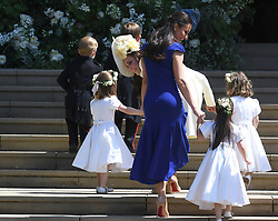 Britain's Catherine (C) the Duchess of Cambridge arrives with bridesmaids and pageboys for the royal wedding ceremony of Britain's Prince Harry and Meghan Markle at St George's Chapel in Windsor Castle, in Windsor, Britain, 19 May 2018. Photo by Neil Hall / ABACAPRESS.COM