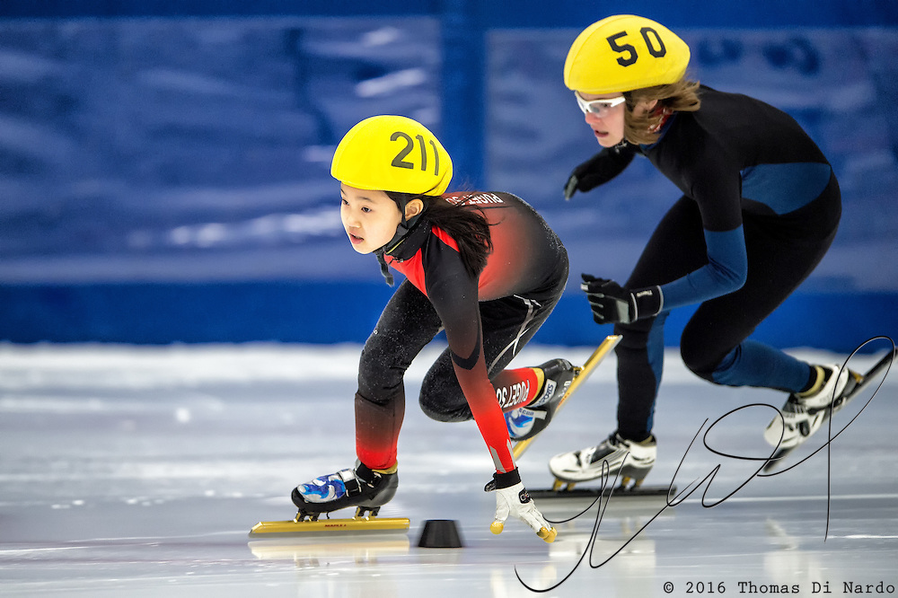 March 19, 2016 - Verona, WI - Grace Lee, skater number 211 competes in US Speedskating Short Track Age Group Nationals and AmCup Final held at the Verona Ice Arena.