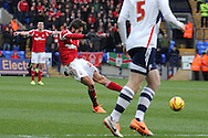 Nottingham Forest's Djamel Abdoun takes a shot at goal. Skybet championship match, Bolton Wanderers v Nottingham Forest at the Reebok Stadium in Bolton, England on Saturday 11th Jan 2014.<br /> pic by David Richards, Andrew Orchard sports photography.