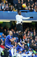 Romelu Lukaku of Everton rises over John Terry, the Chelsea captain to head the ball. Barclays Premier league match, Chelsea v Everton at Stamford Bridge in London on Saturday 16th January 2016.<br /> pic by John Patrick Fletcher, Andrew Orchard sports photography.