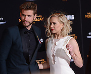 JENNIFER LAWRENCE, LIAM HEMSWORTH  at the premiere of 'The Hunger Games: Mockingjay - Part 2' held at the Micorsoft theatre.<br /> ©Exclusivepix Media