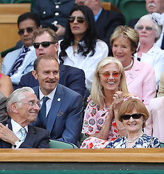 LONDON, ENGLAND - JULY 03: Carlo Nero and Joely Richardson, Vernon Kay and Tess Daly sit in the Royal Box as they attend day two of the Wimbledon Tennis Championships at the All England Lawn Tennis and Croquet Club on July 3, 2018 in London, England...People:  Carlo Nero and Joely Richardson (Credit Image: © SMG via ZUMA Wire)