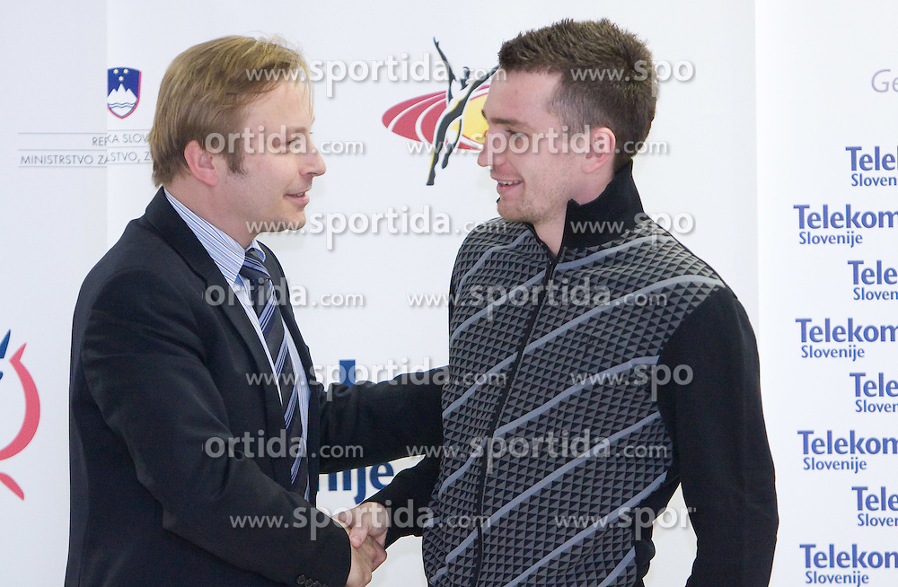 Peter Kukovica and Vid Trsan when Slovenian athletes and their coaches sign contracts with Athletic federation of Slovenia for year 2009,  in AZS, Ljubljana, Slovenia, on March 2, 2009. (Photo by Vid Ponikvar / Sportida)