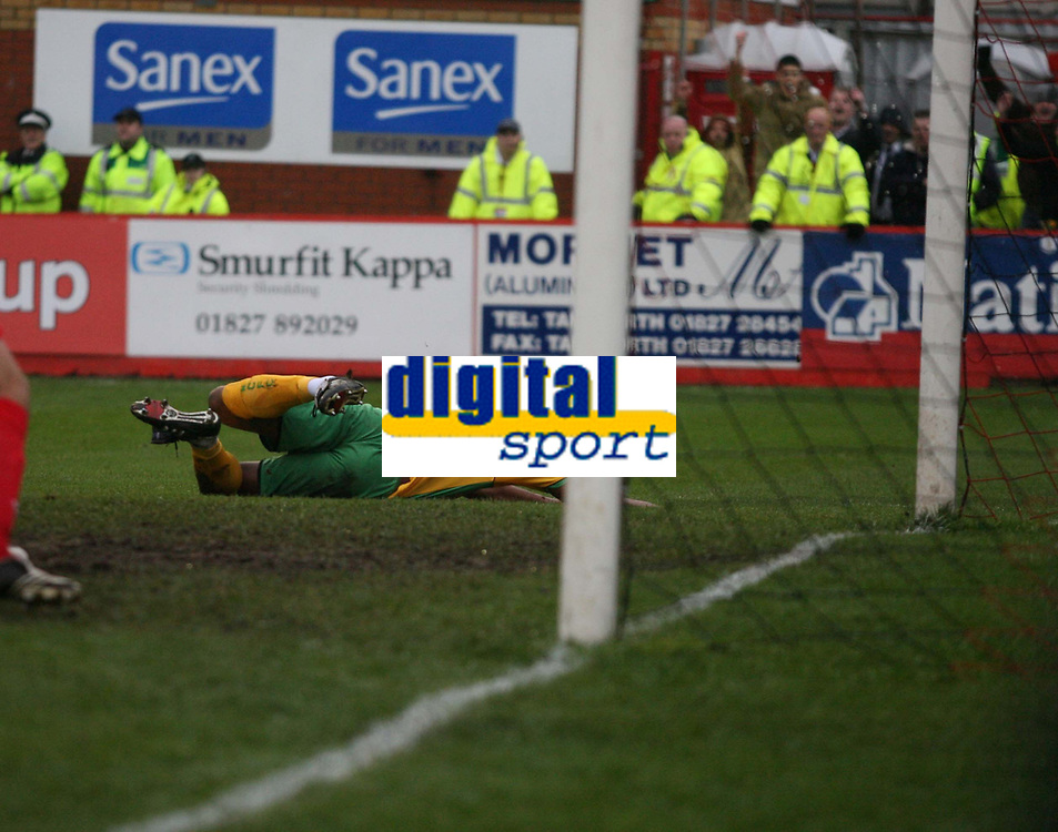 Photo: Rich Eaton.<br /> <br /> Tamworth FC v Norwich City. The FA Cup. 06/01/2007. Dion Dublin heads home the first goal of the game for Norwich