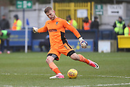 AFC Wimbledon goalkeeper George Long (1) clearing the ball upfield during the EFL Sky Bet League 1 match between AFC Wimbledon and Northampton Town at the Cherry Red Records Stadium, Kingston, England on 10 February 2018. Picture by Matthew Redman.