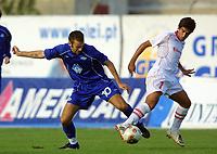 Football, MARINHA GRANDE-24 SETEMBRO:  MAGNE HOSETH e GAMEIRO SERGIO Jogo da 1¼ eliminat—ria da taa UEFA entre o U.D. Leiria e o Molde F.K 24-09-2003 17:00 no est‡dio Mucipal da Marinha Grande <br /> (PHOTO BY: AFCD/NUNO ALEGRIA, DIGITALSPORT)