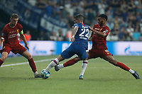 ISTANBUL, TURKEY - AUGUST 14: Jordan Henderson (L) and Joe Gomez (R) of Liverpool vie for the ball with Christian Pulisic of Chelsea during the UEFA Super Cup match between Liverpool and Chelsea at Vodafone Park on August 14, 2019 in Istanbul, Turkey. (Photo by MB Media/Getty Images)
