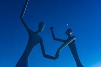 "Sculpture ""Dancers"" 2003 by Jonathan Borofsky, Downtwon Denver, Colorado USA."