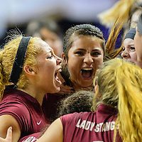 011414  Adron Gardner/Independent<br /> <br /> The Ramah Mustangs celebrate after a 3-0 semifinal win over the Logan Longhorns during the New Mexico State volleyball tournament at the Santa Ana Star Center in Rio Rancho Friday.