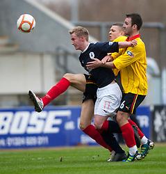 Falkirk's Craig Sibbald and Alan Archibald..half time, Falkirk v Partick Thistle, 10/3/2012..©Michael Schofield.