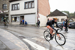 Eva Buurman (NED) of Boels-Dolmans Cycling Team leads the peloton into Houffalize during the Liege-Bastogne-Liege Femmes - a 138.5 km road race, between Bastogne and Liege on April 28, 2019, in Wallonie, Belgium. (Photo by Balint Hamvas/Velofocus.com)