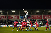 Sale Sharks No.8 Daniel Du Preez wins a line-out during a Premiership Rugby Cup Semi Final  won by Sale 28-7, Friday, Feb. 7, 2020, in Eccles, United Kingdom. (Steve Flynn/Image of Sport)